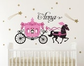 Horse Carriage Wall Decal Fairy Tale Girls Name Princess Room Decor Nursery Appliqué