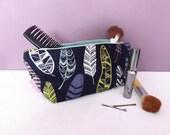 Large waterproof wash / make-up bag.  'Aztec Feathers' design