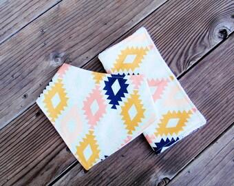 Aztec baby bandana bib and burp cloth set