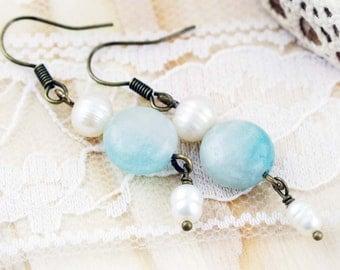Soothing earrings - amazonite and freshwater pearl
