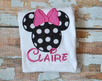 Pink Polka Dot Minnie Mouse Shirt, Girls Minnie Mouse Shirt