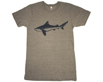 Shark - Mens T Shirt, Unisex Tee, Tri Blend Tee, Handmade graphic tee, sizes xs-xxl