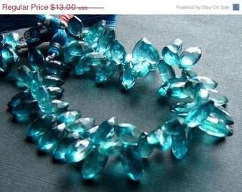 35% OFF Teal blue quartz faceted marquise briolette
