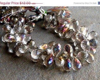 35% OFF Rainbow mystic rock crystal quartz faceted teardrop briolette