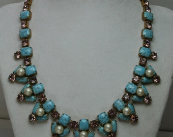 Vintage Glass and Rhinestone Necklace/Choker
