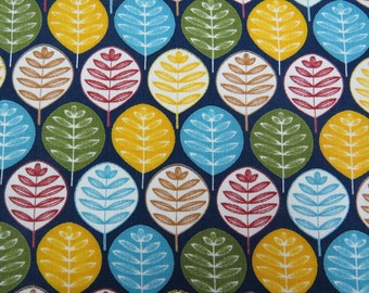 2611C - Leaves in Navy , Round Leaves Fabric, Plant Fabric