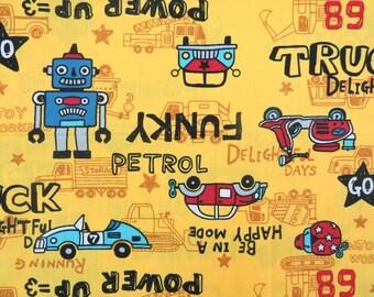 2612A - Sale - Kids Fabric in Yellow , Robots, Cars, Trucks, Racing Cars Fabric