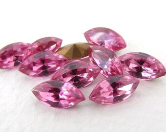 Vintage Rhinestone Rose Pink Navette Glass Jewel 10x5mm rhs0522 (10)