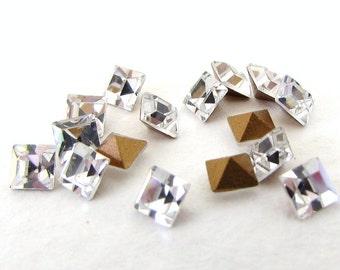 Vintage Rhinestone Swarovski Crystal Clear Square Tiny 3mm swa0633 (24)