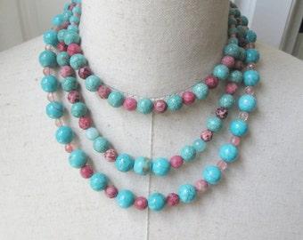 Turquoise Aqua Rose Pink Triple Strand  Beaded Necklace