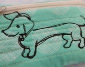 Dachshund zipper pouch, doxie, quilted clutch, weiner dog business card holder, coin holder, backpack, money pouch, zipper bag, change