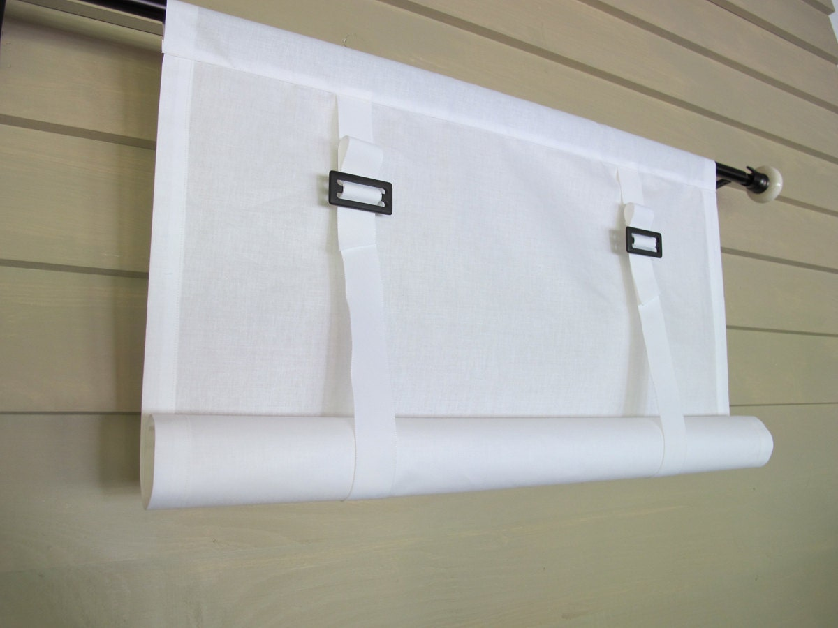 White Cotton Swedish Roll Up Shade Stage Coach Blind Buckles
