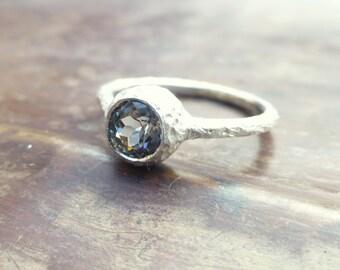 Spinel ring. Blue spinel ring. 14k white gold spinel ring. Textured  spinel ring. Ready to ship. Spinel promise ring.