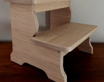 BIG BOY - Wood Step Stool - Solid Oak - UnFinished : jml folding plastic step stool - islam-shia.org