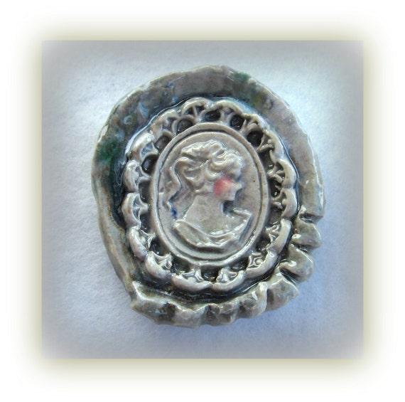 Cameo Bead, Focal Bead,Ceramic Bed, Light Green Cameo bead,   #20