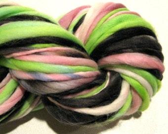 Handspun Yarn Sushi 74 yards green black pink yarn crochet supplies hand dyed merino wool waldorf doll hair knitting supplies