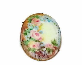 Floral Painted Porcelain Brooch, Late Victorian Pink Roses, Cameo Style