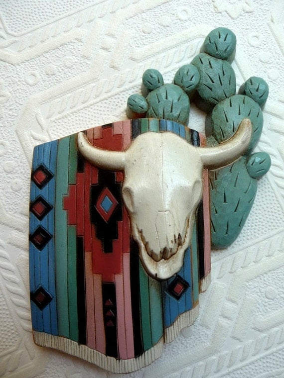 Items similar to western wall hanging art supplies cow for Unique craft items
