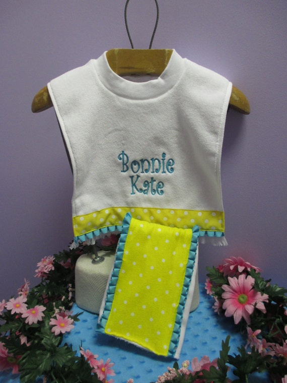 Bib and Burp Cloth Set Personalized Yellow polka Dot with Turquoise Ribbon