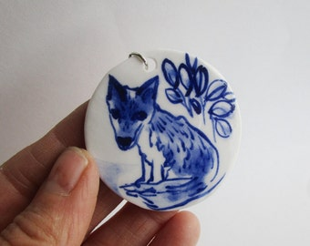 Fox  - Porcelain pendant - Handpainted Dutch Delft blue and white - one of a kind - handmade