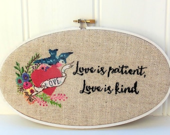 Love is Patient Hoop Hand Embroidery Pattern instant download pdf