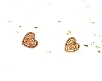 Mixed Metal Heart Studs