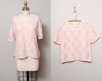 1980s Pink Lace Top - Sheer Lace Oversized Blouse