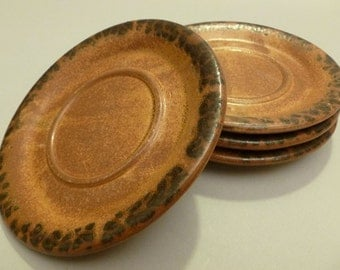 Mccoy Pottery USA Canyon Mesa Saucers, Brown Speckled Rim, 4 available, #1412