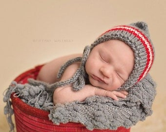 Striped Knitted Bonnet with Ties - newborn baby photo prop