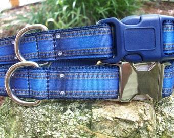 Denim Look Modern Dog Collar In M - L - XL With Add a Leash Option