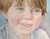Custom watercolor portrait FOR KATJA original painting,child,Cathy Darling, Catherine Darling Hostetter,