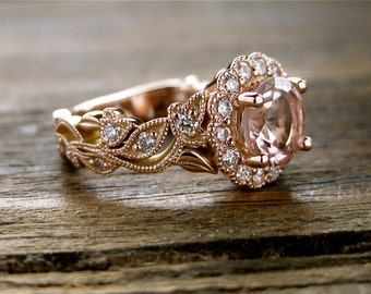 Peach Salmon Morganite Engagement Ring in 14K Rose Gold with Diamonds in Flower Buds and Leafs on Vine Size 3