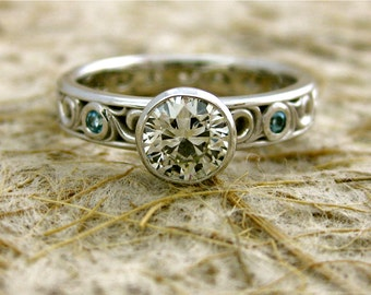 Diamond Engagement Ring in 14K White Gold with Blue Topaz Accents and Exquisitely Detailed Scroll Work Size 6