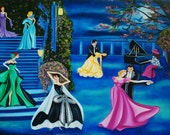 Art Print, Dancers Waltzing, Terrace at Night, Cherry Blossom Tree by k Madison Moore