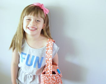 Purse-kids bucket bag - little cotton girls' purse - orange floral pattern bag - gifts for children