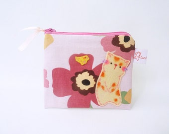 Cat Pouch, Cat Coin Purse, Cat Wallet, Zipper Pouch, Flower Purse, Cotton Purse, Handmade Purse, Cute Cat, Coin Purse
