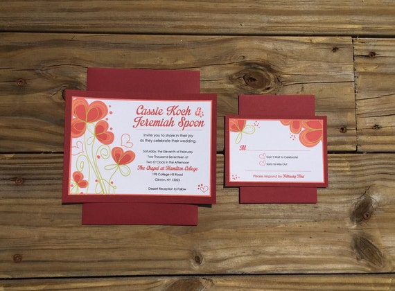 Sweet Hearts Red Floral Wedding Invitation