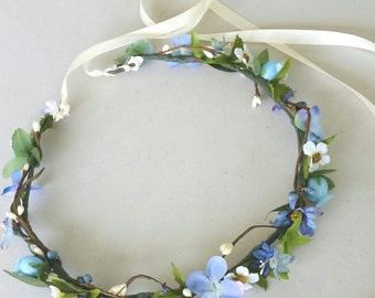 Cornflower blue flower crown periwinkle bridesmaid bridal wedding hair wreath accessories headband fairy flower girl serenity halo