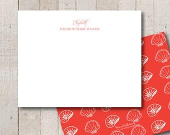 Sea Shells Personalized Stationery // Everyday Stationery // Beach Stationery // Girls Stationery // Ladies Stationery