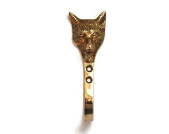 Vintage Solid Brass Fox Head Hook