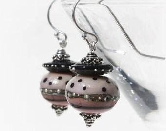 Lampwork Glass Earrings, Sterling Silver Dangle Earrings, Polka Dots, Pink Blush, Bali Silver