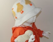 Instant Digital File pdf download knitting pattern Baby & Child Easter Chick Sun Hat knitting pattern