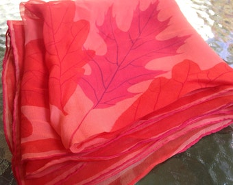 Stunning Vera Scarf Oak Leaf Sheer Large Coral Red Orange Leaves Ladybug