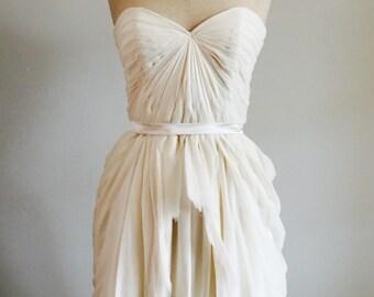 Sienna Bridal Dress - Strapless, knee length, ruffles, pleated, rustic, silk chiffon, custom made to order.