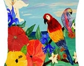 Parrot Garden throw pillow available in 4 sizes