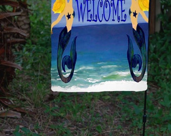 Welcome Mermaids Beach Art Large yard flag from my art.  Available in 2 sizes
