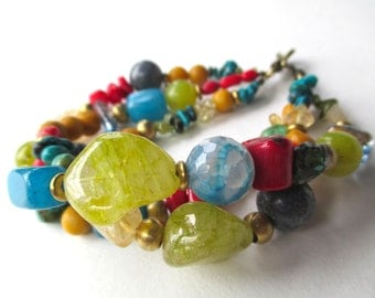 Gemstone boho bracelet, colorful bohemian gypsy jewelry with blue turquoise, red coral, yellow citrine, green peridot