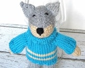 Hand Knit Wolf, Knit Stuffed Animal, Ready To Ship, Woodland Nursery, Kids Stuffed Toy, Knit Animal, Baby Shower Gift, Wolf Baby Toy 9 1/2""