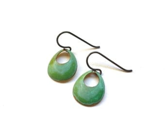 Small Open Circle Verdigris Earrings