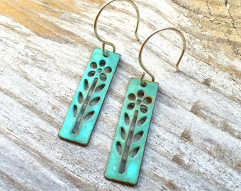 Verdigris Flower Earrings